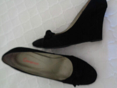 CINNAMON  Size 40 (9)   Black Suede Leather Wedge Heels/Shoes   NEAR NEW