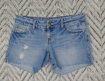 American Eagle Juniors Size 8 Distressed Jean Shorts Light Wash Ripped