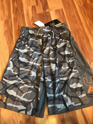 NWT Under Armour Gray Camo Board Shorts Boy's Size XL UPF 30
