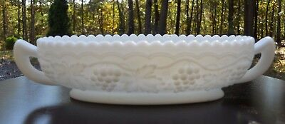 Rare Elegant Imperial Milk Glass Grape Vine Handled Relish Or Pickle Dish!