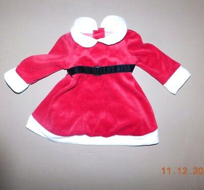 Infant Baby Girls Holiday Christmas Red Velour Santa Dress Size 3-6 Months