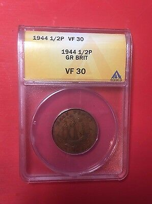 1944 Great Britain Half Penny Coin, ANACS VF 30