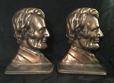 1930's VINTAGE ABRAHAM  LINCOLN BOOKENDS ART DECO HEAVY