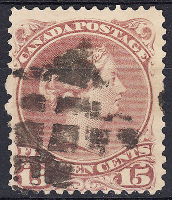 Canada 15c Large Queen red lilac, Scott 29b, F used, catalogue - $80 !!!