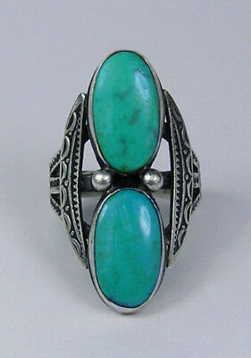 Attractive vintage Navajo silver/turquoise ring, 1940s, Sz 7.5,NR