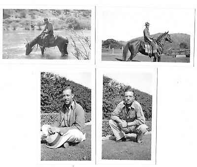 VINTAGE PHOTOS LOT Of 4 * COWBOY RIDING HORSE SMOKING PIPE* SOLFIELD RANCH 1935