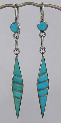 Vintage Zuni silver & channel inlaid turquoise earrings,1940s,NR