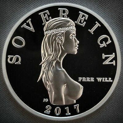 """1 Troy Oz .999 Fine Silver Free Will Sovereign Proof """"MIND YOUR BUSINESS"""" Privy"""