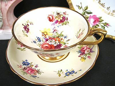 Hammersley Tea Cup And Saucer Painted Signed Howard Rose Floral Pattern Teacup