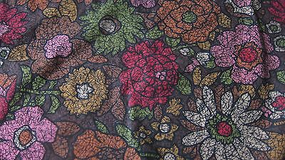 Large Vintage Flower Power 70's 80's Floral Tablecloth Brown Gold Avacardo 80X68