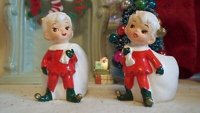 Vintage 2 Napco boy Elf pixie Candle holder Holding santa sack Fi- X-6969