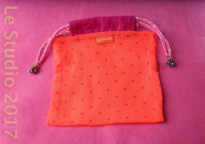 Chan Luu Cloth Gift Bag, Orange w/Pink Polkadots, Beaded Drawstring Closure