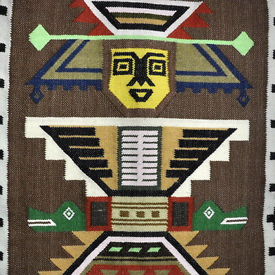 Vintage Tribal Southwestern Tapestry Handwoven Wall Weaving Art Abstract Modern