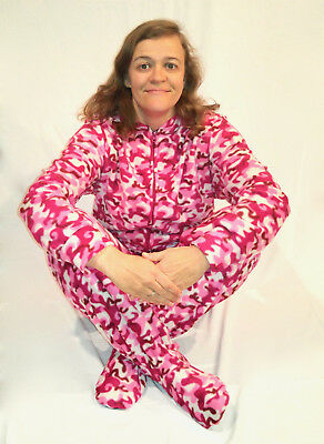 Unisex Adult GÜD NIGHT - Pink Camo Plaid Footed Feety One Piece Pajamas - Adult