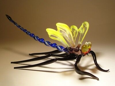 """Blown Glass """"Murano"""" Figurine Gorgeous Yellow with Blue Body DRAGONFLY"""
