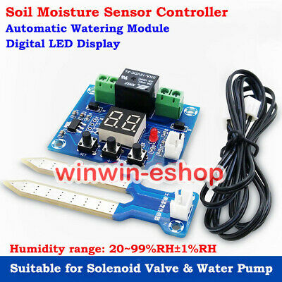 Relay Controller DC 12V LED Soil Moisture Sensor Humidity Automatically Watering