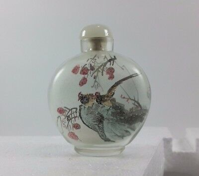 Antique Chinese Reverse Hand Painted Glass Snuff Bottle,Vintage Chinese Interior