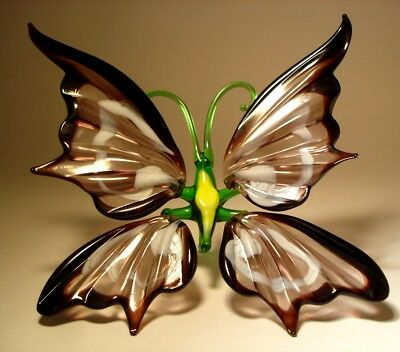 Blown Glass Art Figurine Black and White BUTTERFLY