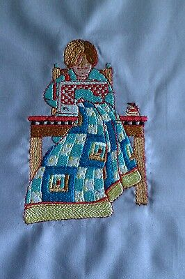 """Woman quilting - 9.5"""" Quilt Square"""