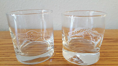 Set Of (2) Drambuie Scotch Whiskey Rocks Glasss With Frosted Etched Logo