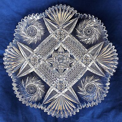 Antique American Brilliant Cut Glass Crystal Abp Large Plate Tray
