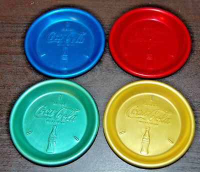 "Set of 4, 1950's Drink Coca Cola, Embossed Aluminum Coasters;4 COLORS;2 7/8""D"