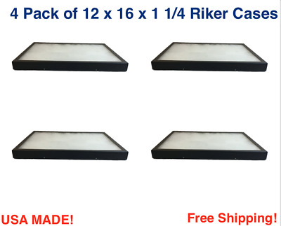 4 Pack of Riker Display Cases 12 x 16 x 1 1/4for Collectibles Arrowheads Jewelry