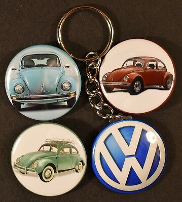Set of Four 1970 VW Beetle Keychain Key Chain + 3 Strong Magnets