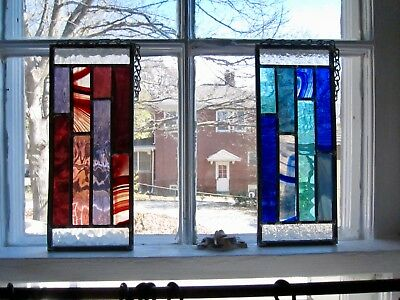 New Stained Glass Set of 2 Color Block Hanging Window Panels Light Catchers