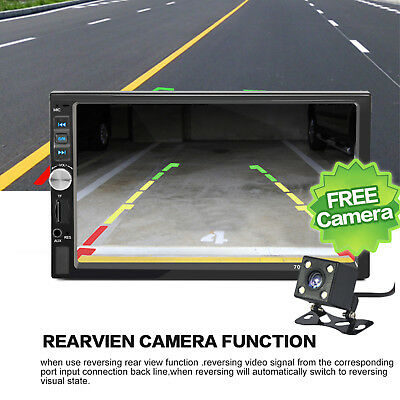 """7"""" HD LCD Audio Stereo 2DIN Car FM MP5 Player Touch Screen with Backup Camera"""