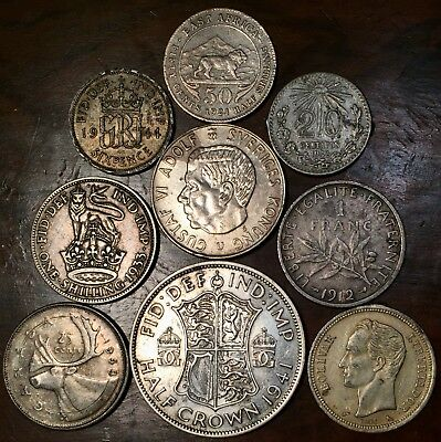 Silver Cull World Coin Lot , Mixed Damaged Foreign Coins