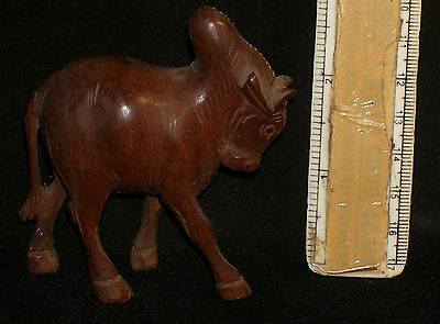 Vintage Decorative wooden Carved Bull Figure Rare handmade Indian Collectible