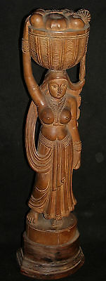 Vintage Decorative wooden Lady Carrying Basket Figure Rare Old India Collectible