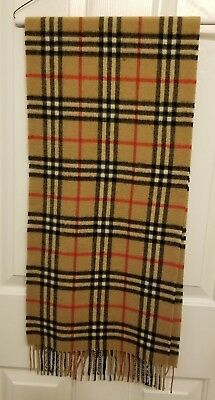 Burberry Unisex Camel Plaid Scarf - 50% Cashmere/50% Lambs Wool - 100% Authentic