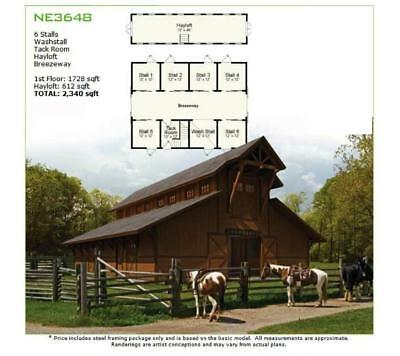 6 Stall Equestrian Horse Barn & Stable
