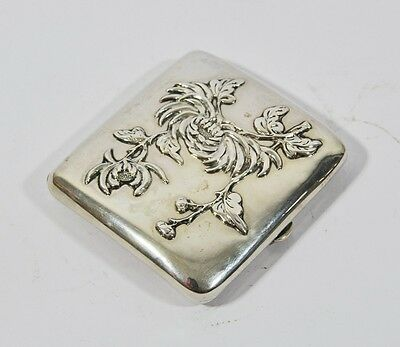 Antique Chinese Export Silver Signed Cigarette Case Box Dragon Woshing Shanghai