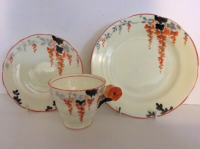 Rare Radfords Crown China Flower Handle Trio