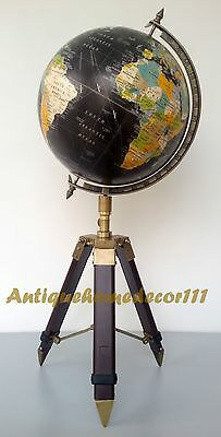 """12"""" World Globe With Table Tripod Stand  Vintage Nautical Home Decorative Item"""