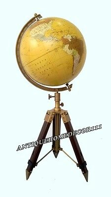 """Vintage Collectibles Nautical Decor Table Top 12"""" Globe With Tripod Stand"""