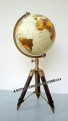 """Contemporary Nautical 12""""  World Decorative Authentic Globe with Tripod Stand"""