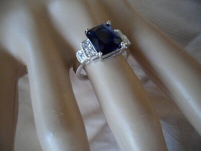 Antique Art Deco Vintage Gold Ring Sapphire Blue and White stones size 10 or U