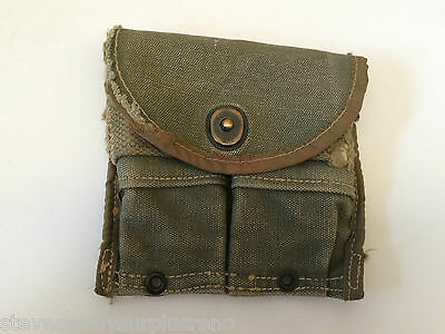 ~Genuine Vintage Us Wwii/korea Od Canvas M1 Carbine Dbl Magazine Mag Pouch