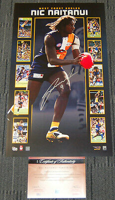 Nic Naitanui West Coast Eagles Hand Signed Afl Vertiramic Official Limited Print