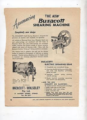 New Buzacott Shearing Machine Advertisement removed from 1953 Farming Magazine