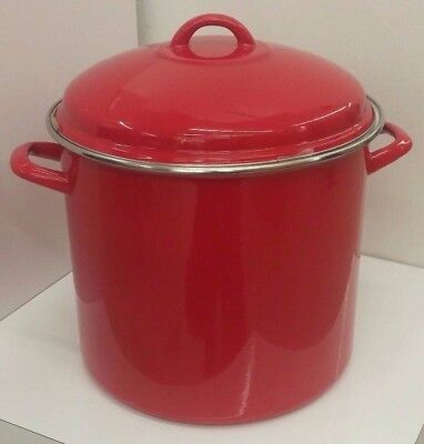 Red Stockpot Porcelain Enamel on Steel 16 Quart (Crate and Barrel) NEW