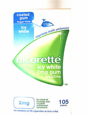 NICORETTE COATED GUM SUGAR FREE ICY WHIITE 2mg GUM 105 PIECES