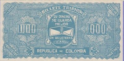 Colombia-Republic of Colombia,1000 Trianon Banknote,ND Choice Very Fine,Unlisted