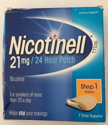NICOTINELL Nicotine 21mg 24 Hour Patches Step 1  quit smoking 7 Days supply