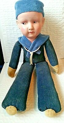 "Vintage 1940s Celluloid Head Cloth Navy Sailor Boy Doll 13"" Tall made in Japan"