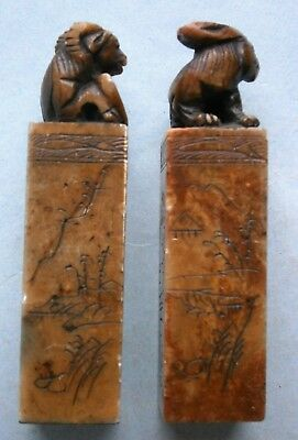 Pair of Old Chinese Carved Soapstone Ink Stamp Seals with Ram & Rabbit Figures